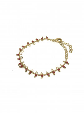 by Bram Gold bracelet - W/red pearl