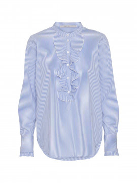 Costamani Sanne frill stripe L/S top - Blue