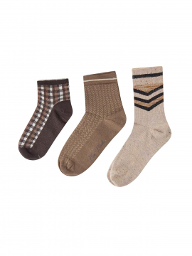 Mos Mosh Lurex socks 3 stk. - Chocolate chip