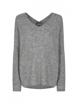 Mos Mosh Thora V-neck knit - Grey melange