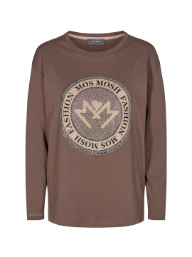 Mos Mosh Leah L/S gold tee - Chocolate chip