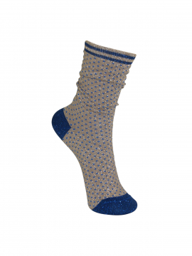 Black Colour Lurex dotted sock - Sandblue