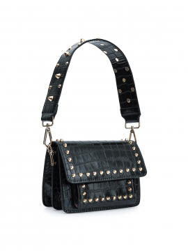 the Rubz Scarlett small croc studs bag - Black