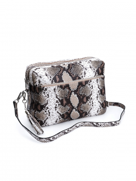 the Rubz Cindy large snake  crossbody - Brown
