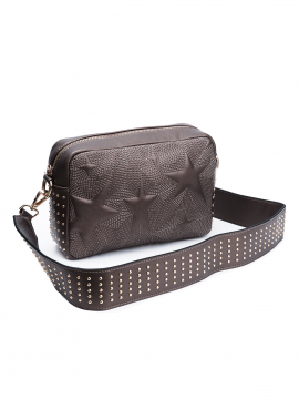 the Rubz Roxana medium studs quilt crossbody  - Warm metal
