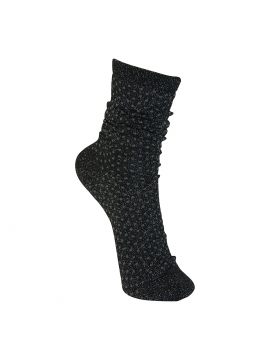 Black Colour Lurex dotted sock - Black/D.Grey