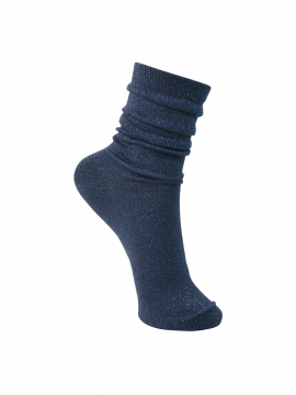 Black Colour Lurex sock - Jeans blue