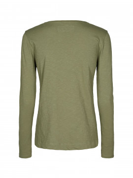 Mos Mosh Arden V-neck tee L/S - Olive