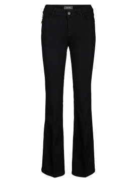 Mos Mosh Victoria silk flare long jeans - Black
