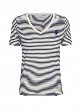 Mos Mosh Kenia Glam Stripe V-neck - Dark blue