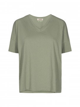 Mos Mosh Elisa V-neck S/S Tee - Oil green