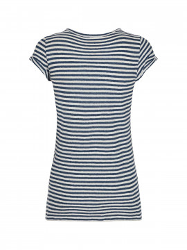 Mos Mosh Troy stripe S/S tee - Dark blue