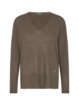 Mos Mosh Sophia V-neck cashmere - Chocolate chip