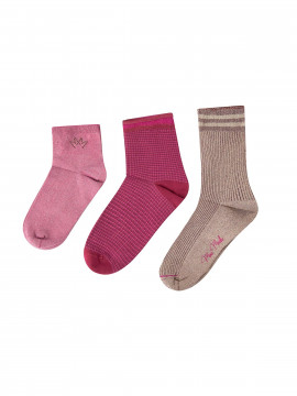 Mos Mosh Lurex socks 3 stk. - Cherries jubilee
