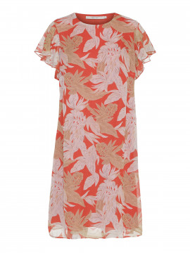 Costamani Michella leaves dress - Coral