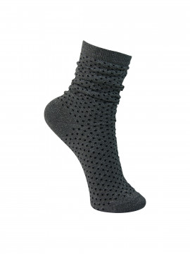 Black Colour Lurex dotted sock - Silver / black