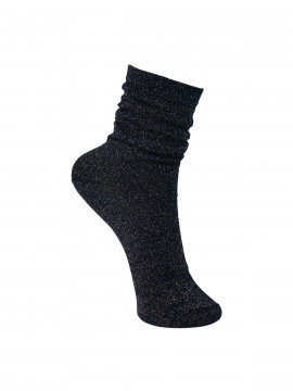 Black Colour Lurex sock - Navy / gold