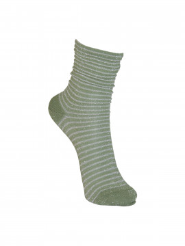 Black Colour Queen silver stripe sock - Olive