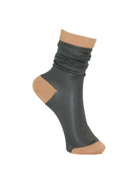 Black Colour Rib sock - Cobbergrey
