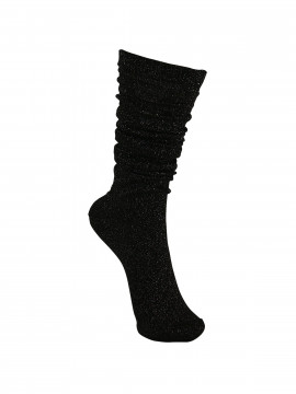 Black Colour Knee lurex sock - Black