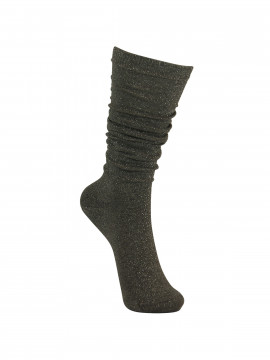 Black Colour Knee lurex sock - Grey