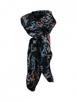 Black Colour Lillies silky bow scarf - Navy