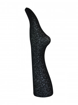 Black Colour Leopard tights - Black