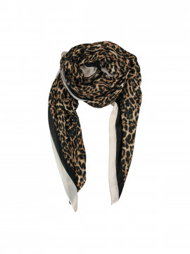 Black Colour Dakota twill scarf - Leo