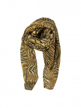 Black Colour Zebra scarf - Yellow