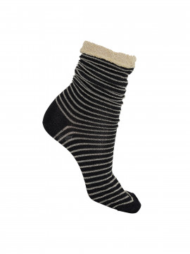Black Colour Stripe sock - Black / gold