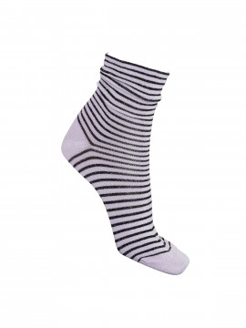 Black Colour Riga Stripe sock - Lavender / Black