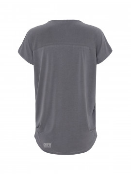One Two Luxzuz Dunja Tee V-neck - Concrete
