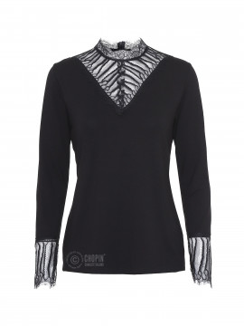 One Two Luxzuz Gerti lace-neck top - Black