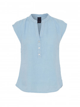 One Two Luxzuz Kika linnen top - Ice blue