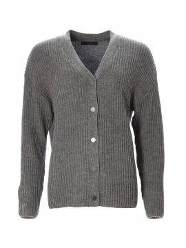 One Two Luxzuz Haraldine cardigan - Dark grey melange