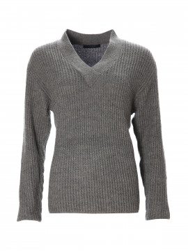 One Two Luxzuz Hazel V-neck knit - Dark grey melange