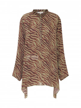 Fashion by Blue Co. Sue oversize top - Green zebra
