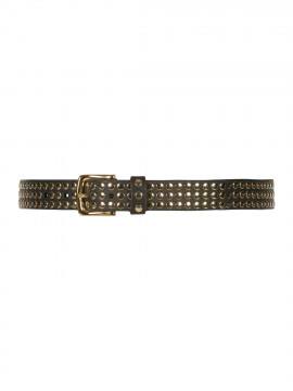 Depeche Margot wide studs belt - Black/gold