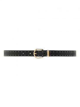 Depeche Mary narrow studs belt - Black/gold