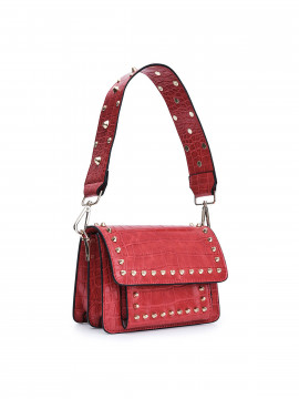 the Rubz Scarlett small croc studs bag - Red