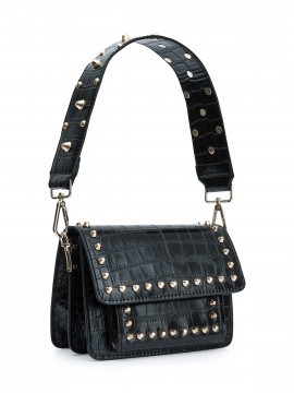 the Rubz Scarlett large croc studs bag - Black