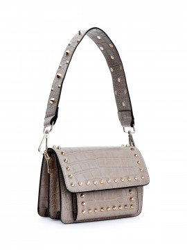 the Rubz Scarlett large croc studs bag - Cream