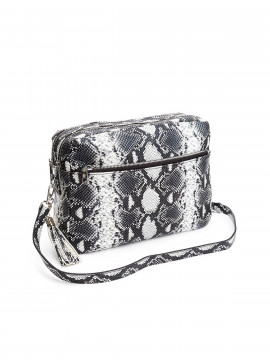 the Rubz Cindy large snake crossbody - Black / white