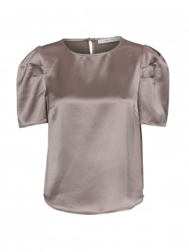 Costamani Bettie S/S satin top - Taupe