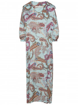 Costamani Spot paisley long dress - Turkis