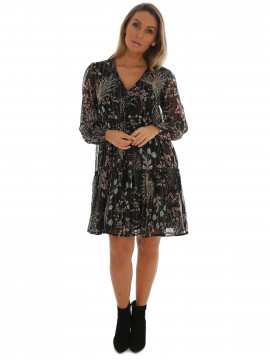 Chopin Felice leaves short dress - Black