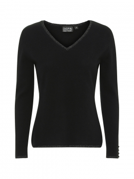 Chopin Dacia cashmere Lurex V-neck - Black