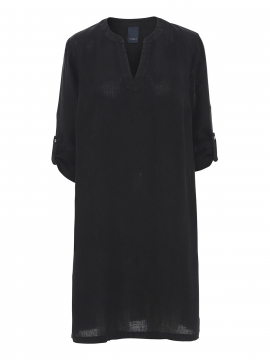One Two Luxzuz Kathlin linnen dress 3/4 - Black